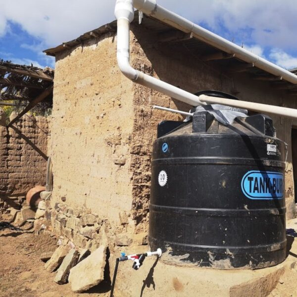 Water storage and irrigation for small gardens in Bolivia.